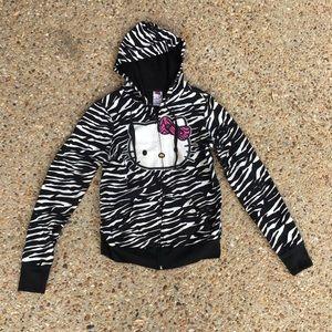 Hello Kitty Zebra Animal Print Zippered Sweatshirt